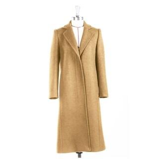 Women's Camel Classic Notched Lapel Wool Coat