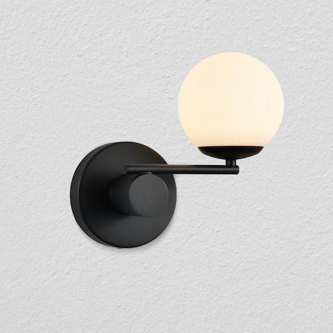 "VONN Lighting Capri 9"" LED Wall Sconce in Black with 1 Glass Shade"