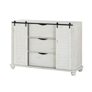 Emerald Home Abaco Country White Buffet with Sliding Barn Doors And Hidden Storage