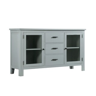 Emerald Home Cliff Haven Gray Mist and Natural Cherry Buffet with Three Drawers And Glass Door Display Shelving