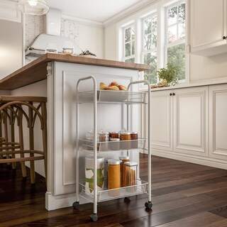 3-Tiered Narrow Rolling Storage Shelves - Mobile Utility Organizer for Kitchen, Bathroom, Laundry and More by Lavish Home