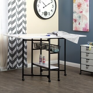 """Sew Ready Standing Height Craft/Cutting Table with Baskets (36"""" H) - Black"""