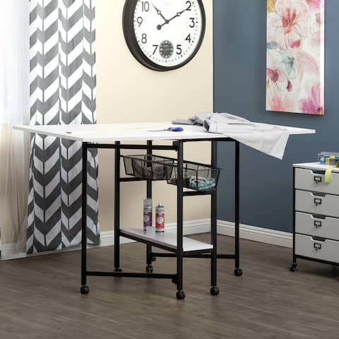 """Sew Ready Standing Height Craft/Cutting Table with Baskets (36"""" H)"""