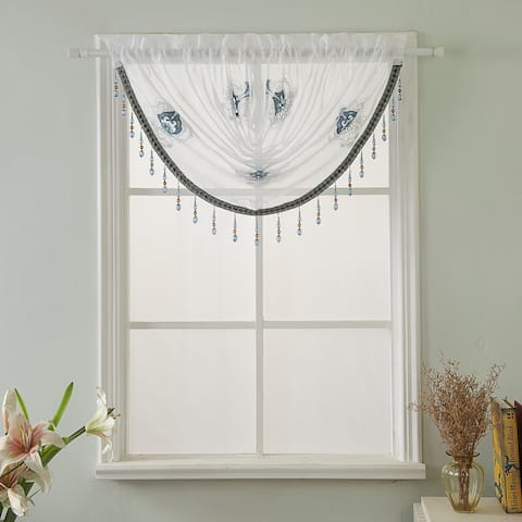 Oslo Embroidered 47 x 37 in. Swag Valance