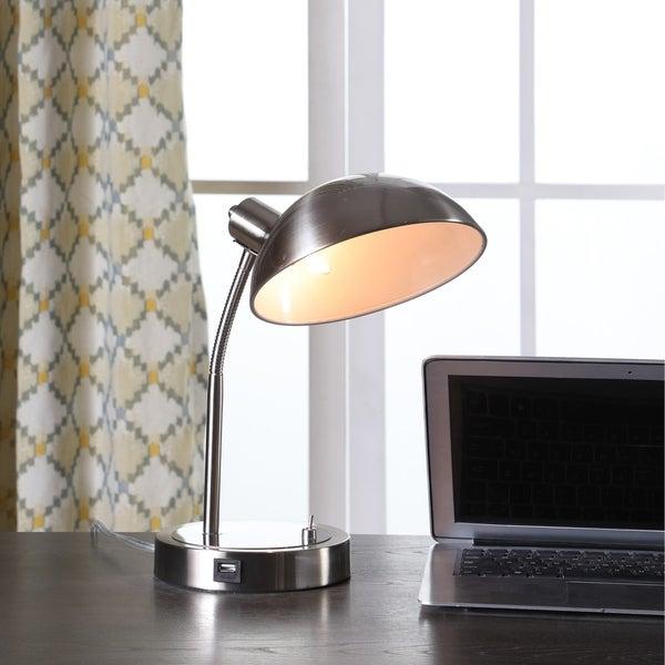 Shop 13 75 In Leone Flexible Silver Metal Desk Lamp W