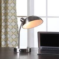 13.75 In. Leone Flexible Silver Metal Desk Lamp w/ USB Port