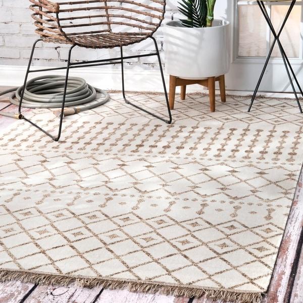 The Curated Nomad Ashbury Bohemian Geometric Moroccan Trellis Tassels Indoor/ Outdoor Area Rug