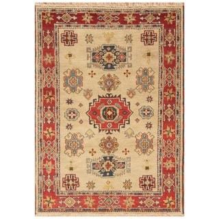Handmade Kazak Wool Rug (India) - 4'8 x 6'6