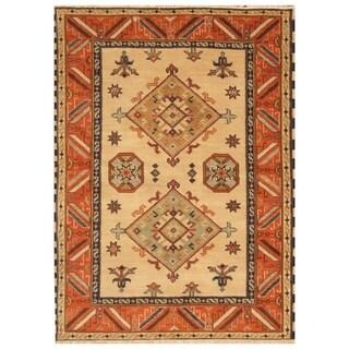 Handmade Kazak Wool Rug (India) - 4'9 x 6'7