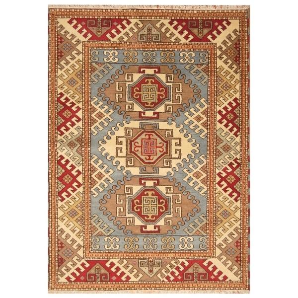 Handmade Kazak Wool Rug (India) - 5'8 x 8'