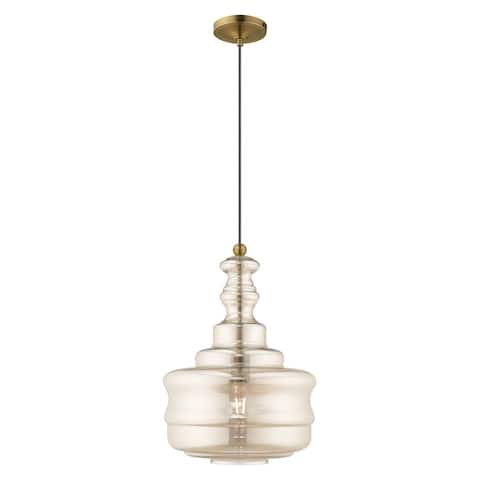 "Livex Lighting Art Glass 1-light Mini Pendant - 12.63""Dia. x 19.25""-90""Adj. H"