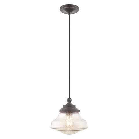 "Livex Lighting Art Glass 1-Light Schoolhouse Mini Pendant - 9""Dia. x 11""-90""Adj. H - 9""Dia. x 11""-90""Adj. H"