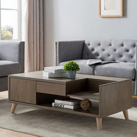 Furniture of America Lit Mid-century Modern Oak 2-drawer Coffee Table