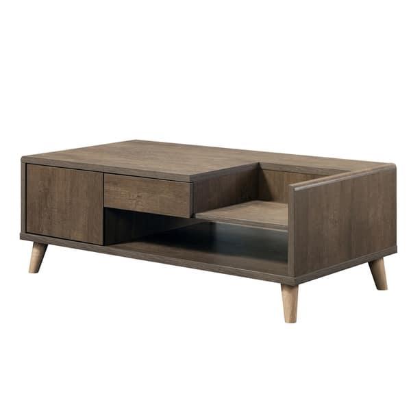 Furniture Of America Lit Mid Century Modern Oak 2 Drawer Coffee Table Overstock 25764649