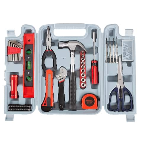 131 Heat-Treated Pieces Tool Kit - Essential Steel Hand Tool and Basic Repair Set for Apartments, Dorm, Homeowners by Stalwart
