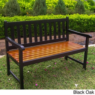 International Caravan 4-foot Acacia Bench with Antiqued UV Paint Finish
