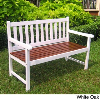 International Caravan 4-foot Acacia Bench with Antiqued UV Paint Finish (Option: White)