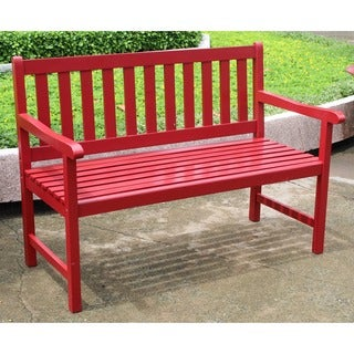 International Caravan 4 Foot Acacia Bench With Antiqued UV Paint Finish
