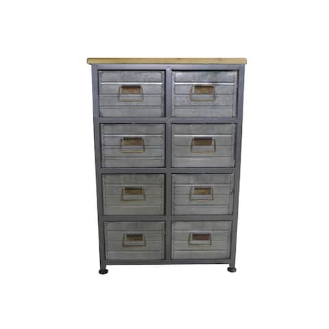 Emerald Home Grant Aged Metal and Blonde Wood 8-Drawer Accent Cabinet