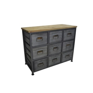Emerald Home Grant Aged Metal and Blonde Wood 9-Drawer Accent Cabinet