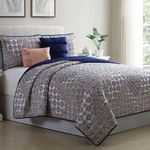 Amrapur Overseas Denira 5-Piece Reversible Quilted Coverlet Set