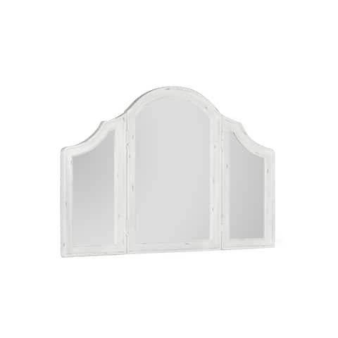 Emerald Home Bordeaux Antique White / Antique Pewter Distressed Finish Wood Frame Mirror