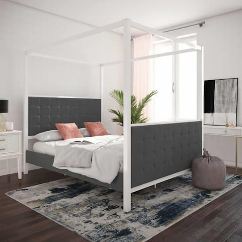 CosmoLiving by Cosmopolitan Bowery Upholstered Metal Canopy Bed