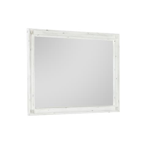 Emerald Home Furnishings Bordeaux Antique White and Antique Pewter Mirror with Wood Frame And Distressed Finish