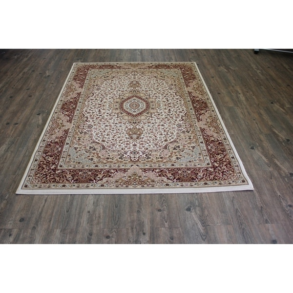 "Cream 8x11 Abstract Area Rug - 7'10"" x 10'6"""