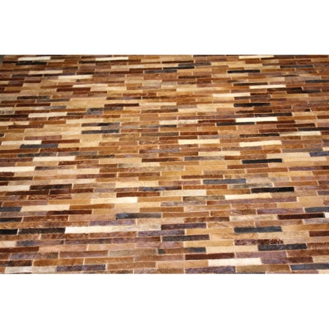 "Tan Patchwork Cowhide Rug - 7'6"" x 9'6"""