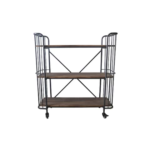 Emerald Home Laurell Hill Industrial Patina Gray 3-Shelf Bookcase