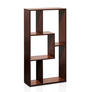 Porch & Den Muse Walnute Finish Five Grid Cube Storage Rack