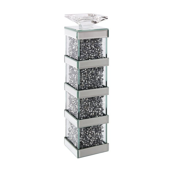 ACME Noralie Accent Candleholder, Mirrored and Faux Diamonds