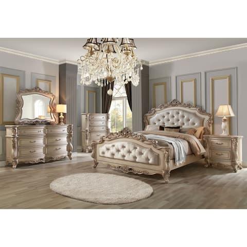 ACME Gorsedd Dresser, Marble and Antique White
