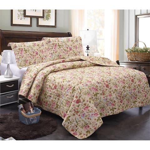 3-Piece Printed Reversible Bedding Quilt Set
