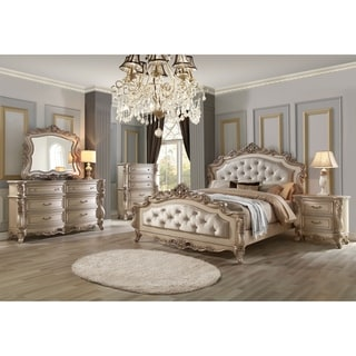 ACME Gorsedd Eastern King Bed, Cream Fabric and Antique White