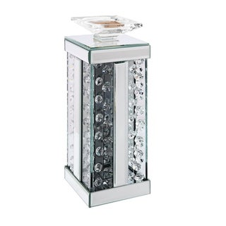 ACME Nysa Accent Candleholder, Mirrored and Faux Crystals