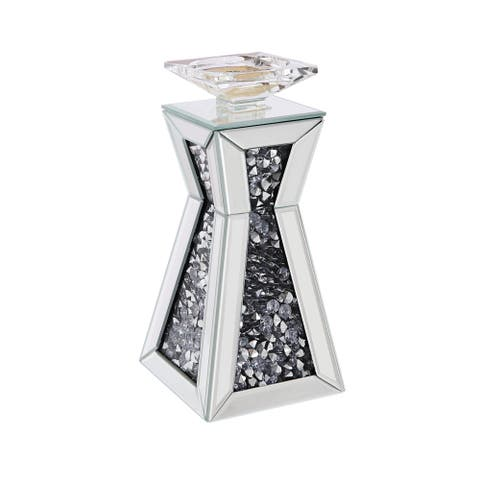 ACME Nowles Accent Candleholder, Mirrored and Faux Stones