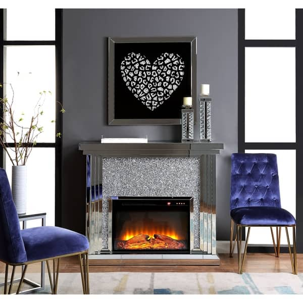 Excellent Shop Acme Noralie Fireplace Mirrored And Faux Diamonds On Spiritservingveterans Wood Chair Design Ideas Spiritservingveteransorg