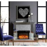ACME Noralie Fireplace, Mirrored and Faux Diamonds