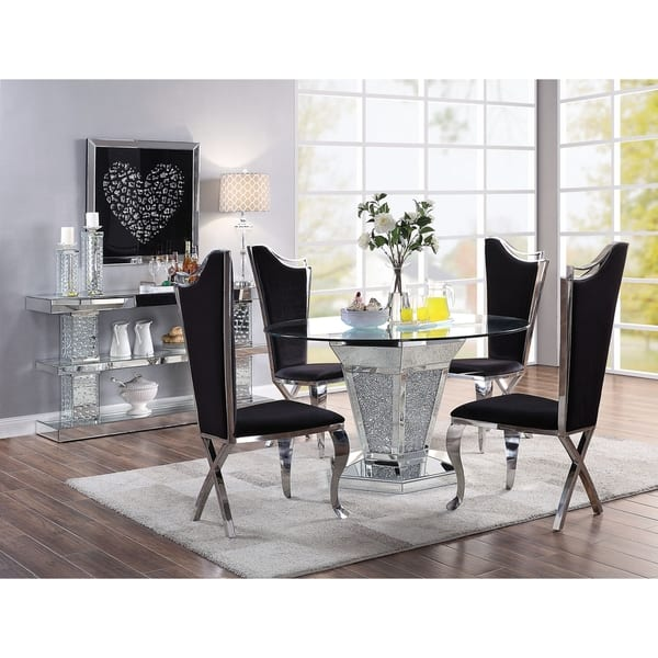 Acme Noralie Dining Table Mirrored Faux Diamonds And Clear Glass Overstock 25767785