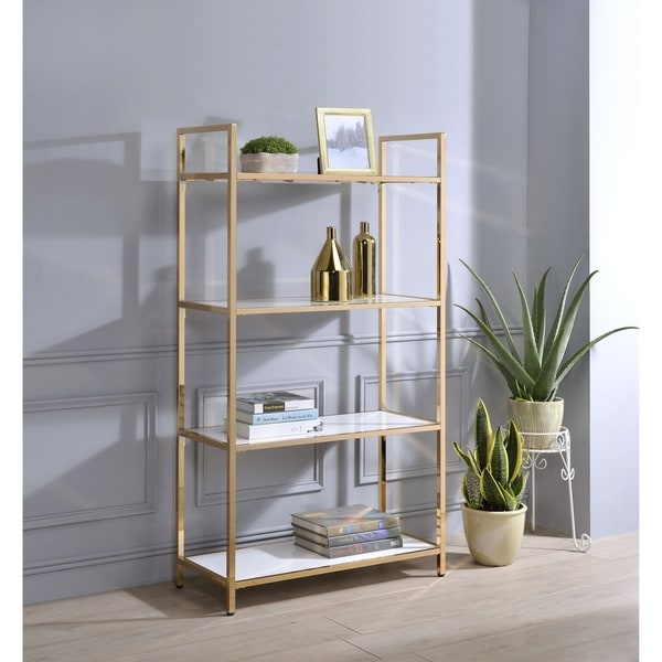 Shop ACME Ottey Bookcase, White High Gloss And Gold