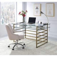 ACME Shona Desk, Antique Gold and Clear Glass
