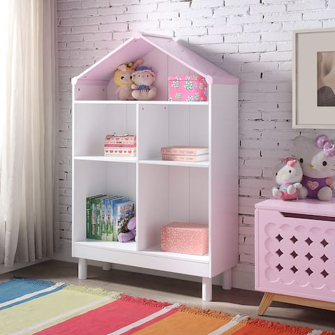ACME Doll Cottage Bookcase, White and Pink