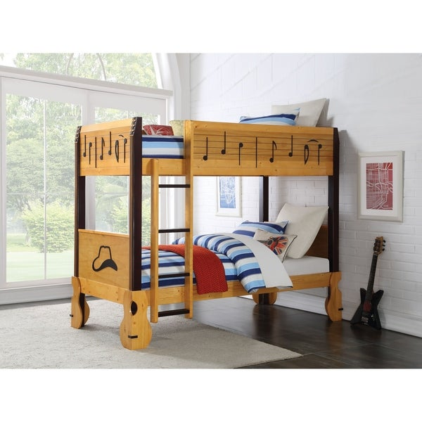 ACME Petrus Twin/Twin Bunk Bed, Honey Oak and Espresso