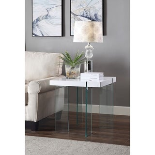 ACME Noland End Table, White High Gloss and Clear Glass