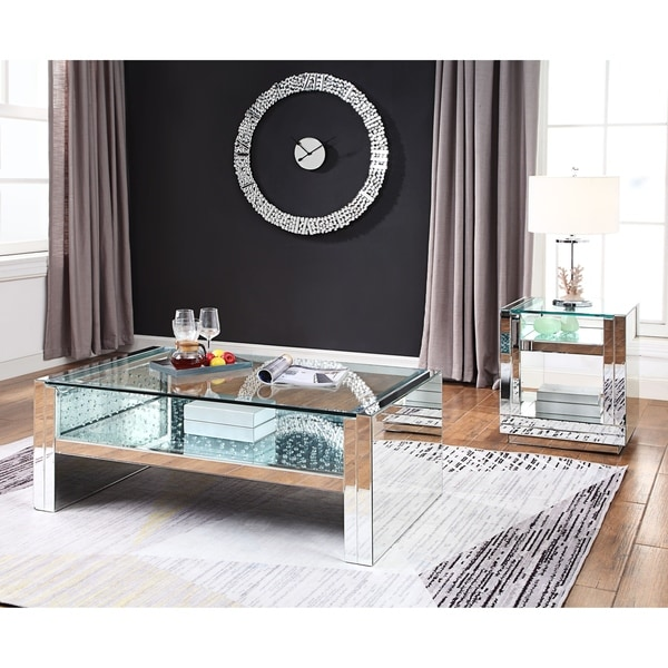 Shop ACME Nysa Coffee Table, Mirrored And Faux Crystals