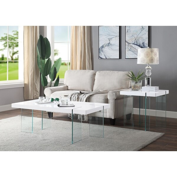 ACME Noland Coffee Table, White High Gloss and Clear Glass