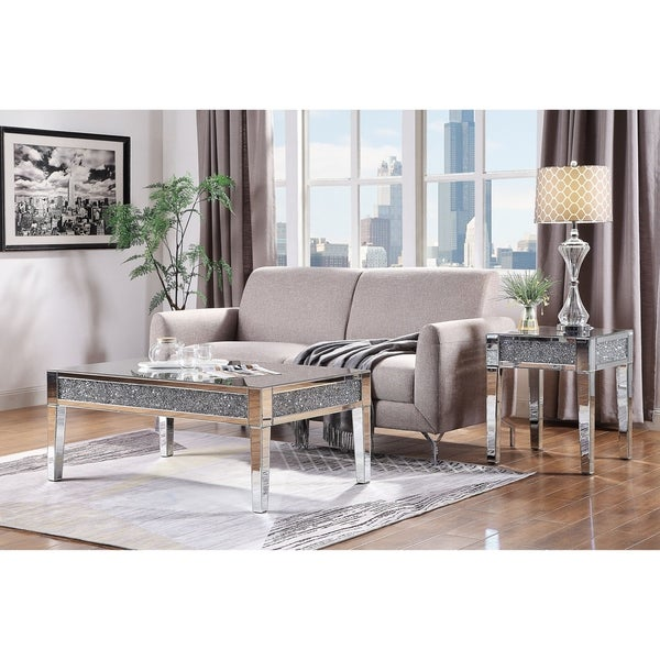 Shop ACME Noralie Coffee Table, Mirrored And Faux Diamonds