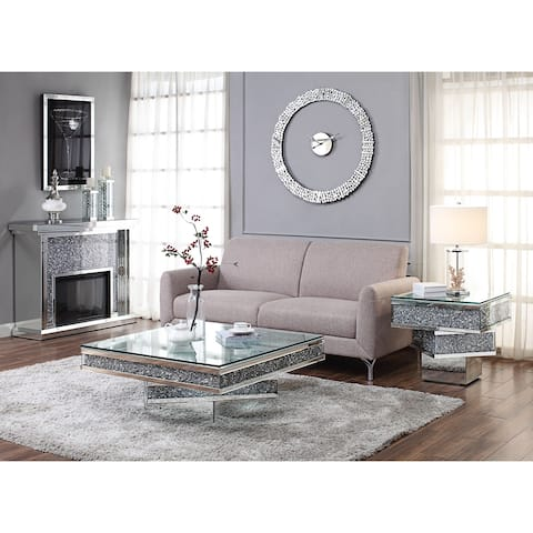 ACME Noralie Coffee Table, Mirrored and Faux Diamonds